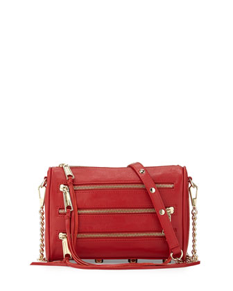 Five-Zip Mini Crossbody Bag, Crimson
