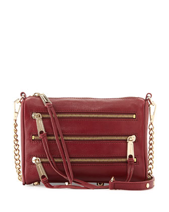 Five-Zip Mini Crossbody Bag, Burgundy