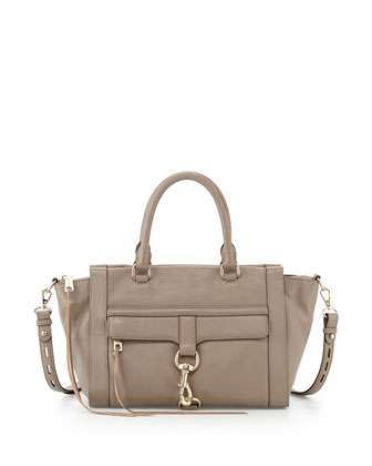 Bowery Leather Satchel Bag, Taupe