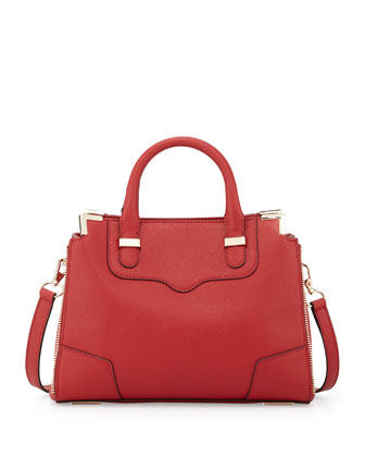 Amorous Small Saffiano Satchel Bag, Red