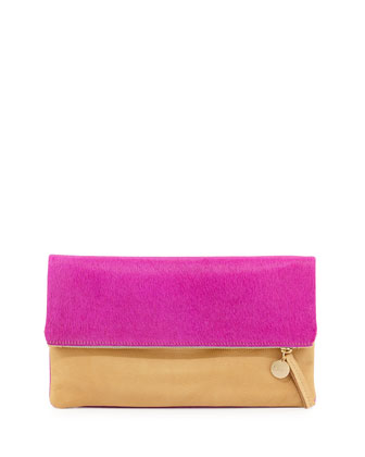 Colorblock Calf Hair Fold-Over Clutch Bag, Fuchsia/Tan