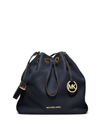 Large Jules Drawstring Shoulder Bag, Navy