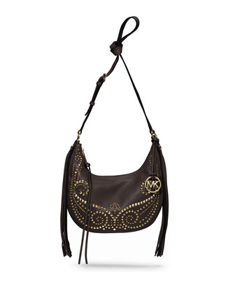 Small Rhea Studded Shoulder Bag, Dark Chocolate