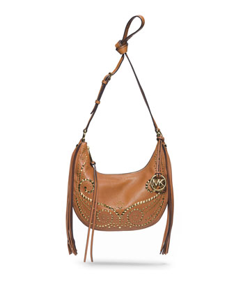 Small Rhea Studded Shoulder Bag, Luggage