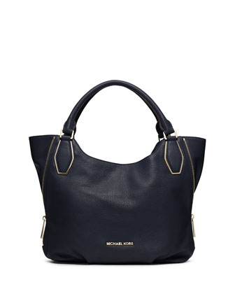 Medium Vanessa Shoulder Tote, Navy