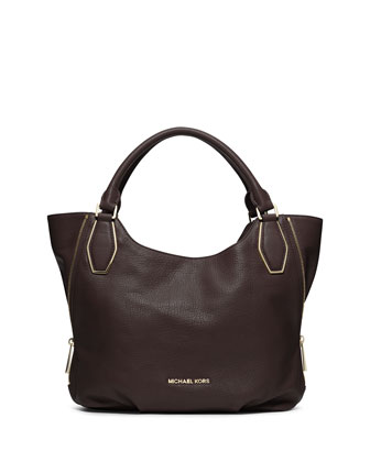 Medium Vanessa Shoulder Tote, Dark Chocolate