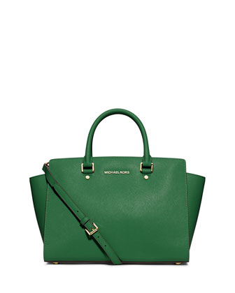 Large Selma Top-Zip Satchel, Gooseberry