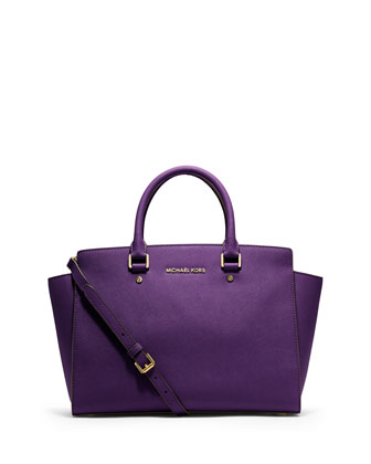 Large Selma Top-Zip Satchel, Violet