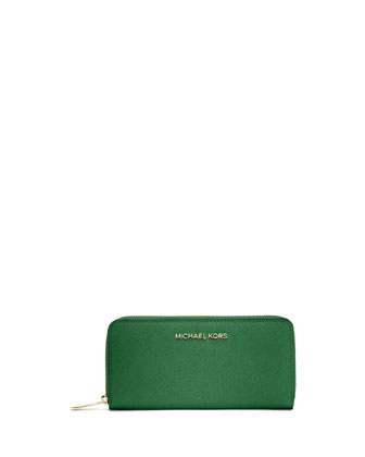 Jet Set Zip-Around Continental Travel Wallet, Gooseberry
