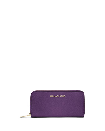 Jet Set Zip-Around Continental Travel Wallet, Violet