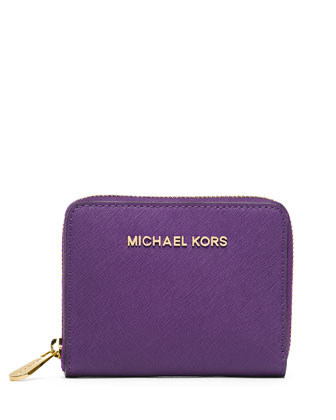Medium Jet Set Travel Zip-Around Wallet, Violet