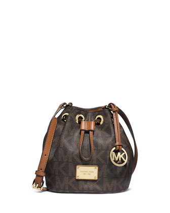 Jules Logo Drawstring Crossbody Bag, Brown
