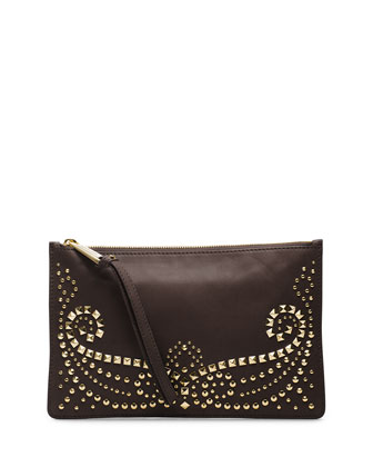 Large Rhea Studded Zip Clutch, Dark Chocolate