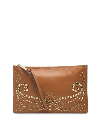 Large Rhea Studded Zip Clutch, Luggage