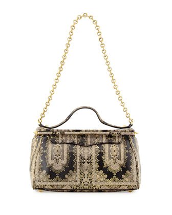 Small Printed Frame Satchel Bag, Morocco