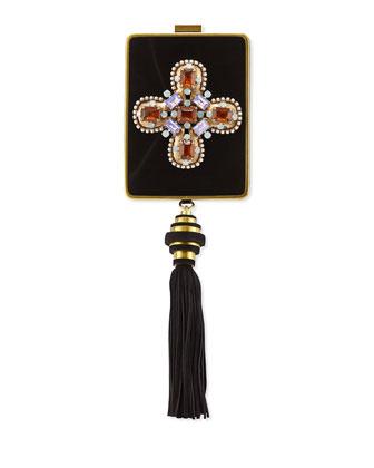 Embellished Tassel Chain-Strap Minaudiere, Black