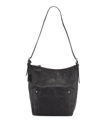 Renee Leather Bucket Bag, Black