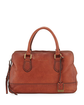 Jamie Leather Satchel Bag, Whiskey