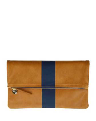 Single-Stripe Fold-Over Clutch Bag, Caramel/Navy