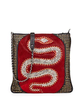 Genny Snake Stud Calf Hair Crossbody Bag, Crimson