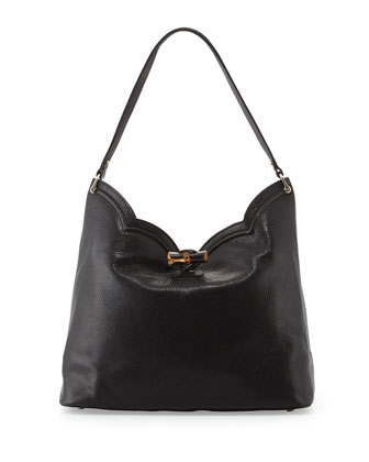Tia Leather Hobo Bag, Black