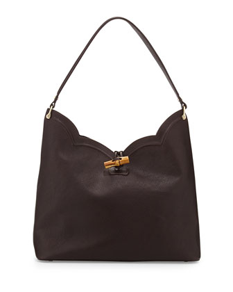 Tia Leather Hobo Bag, Chocolate