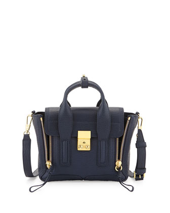 Pashli Leather Mini Satchel Bag, Ink