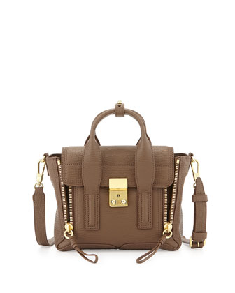 Pashli Mini Leather Satchel, Taupe
