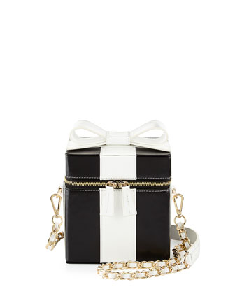 Present Box Leather Shoulder Bag, Black/White