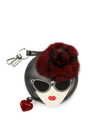 Stacey Face Leather and Fur Coin Purse, Black/Raspberry