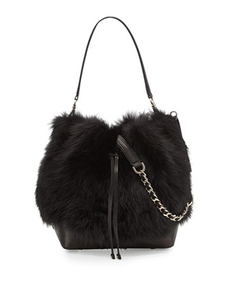 Shearling Fur Bucket Bag, Black
