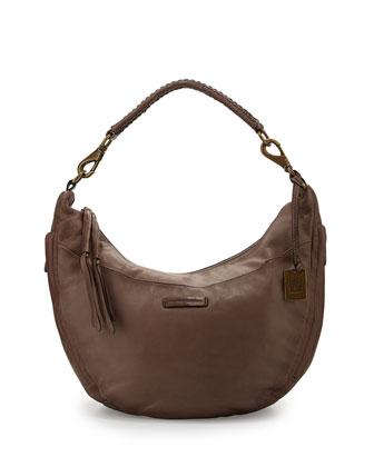 Jenny Leather Hobo Bag, Gray