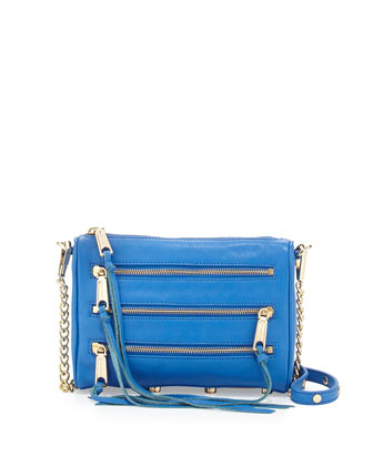 Five-Zip Mini Crossbody Bag, Bright Blue