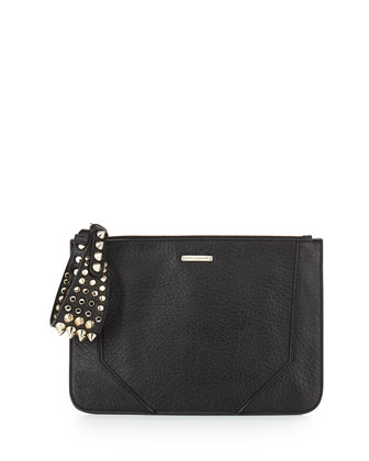 Jax Spike Studded Clutch, Black