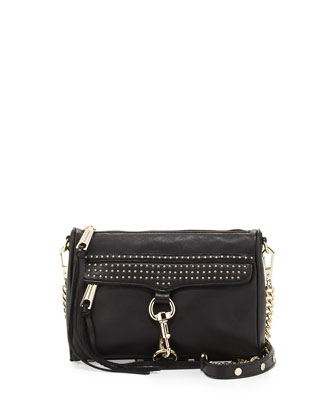 Mini MAC Micro-Studded Leather Crossbody Bag, Black