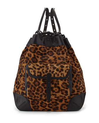 Grayson Leopard-Print Calf Hair Backpack