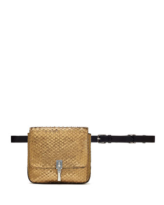 Cynnie Snake-Embossed Belt Bag, Bronze