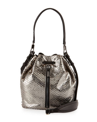 Cynnie Snake-Print Mini Bucket Bag, Anthracite