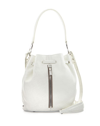Cynnie Mini Leather Bucket Bag, White