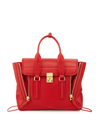 Pashli Medium Zip Satchel Bag, Red