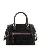 Brenda Studded Calf-Hair Duffle Bag, Black