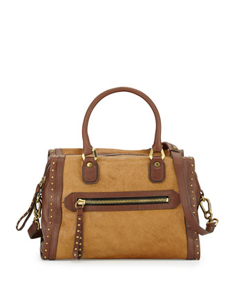 Brenda Studded Calf Hair Satchel Bag, Natural