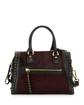 Brenda Studded Calf-Hair Satchel Bag, Cabernet