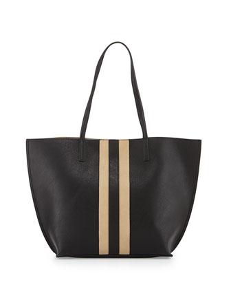 Reversible Stripe-Detail Tote Bag, Black