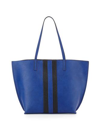 Reversible Faux-Leather Tote Bag, Royal/Black
