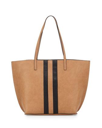 Reversible Faux-Leather Tote Bag, Camel/Black