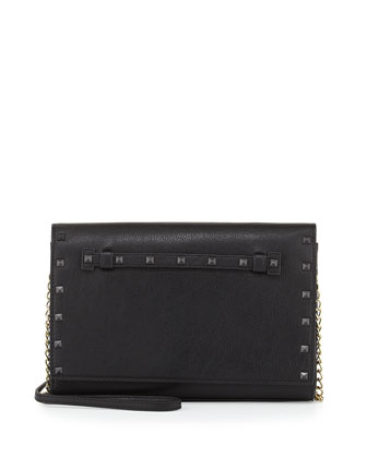Stud-Trim Chain Shoulder Bag, Black