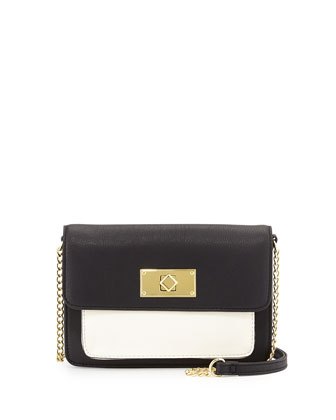 Colorblock Faux-Leather Crossbody Bag, Black/Bone