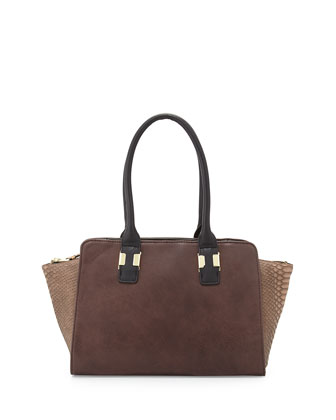 Snake-Embossed Faux-Leather Satchel Bag, Brown/Taupe/Black