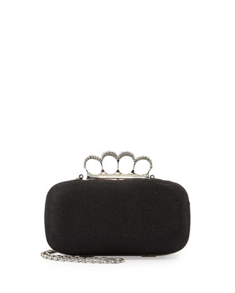 Knuckle Clutch Bag with Strap, Black